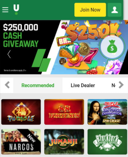 Unibet NJ Mobil Casino, also available as an Android App.