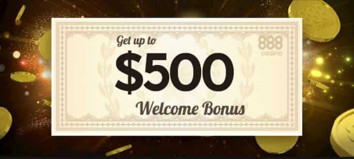 Deposit bonus up to $500 at 888 Casino NJ