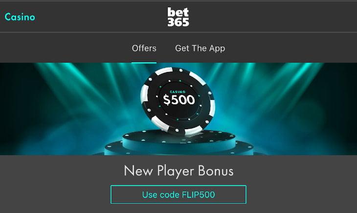 NJ Bet365 casino welcome bonus - get it with code FLIP500