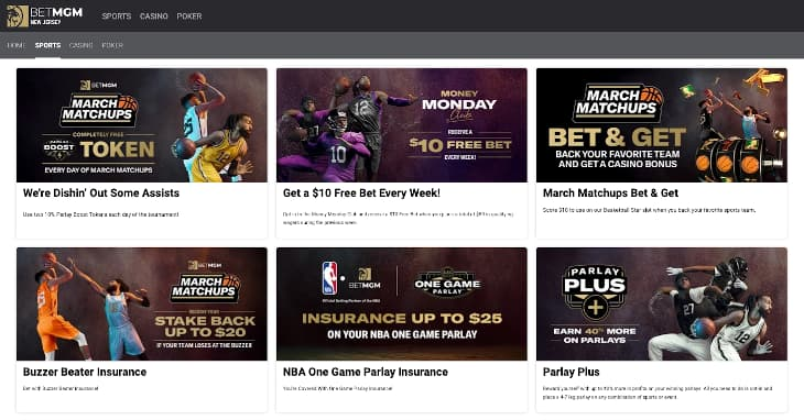 BetMGM New Jersey ongoing sports promos