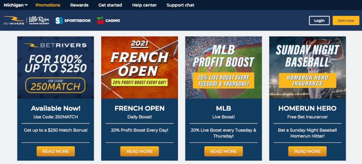 Ongoing sportsbook promotions on BetRivers MI